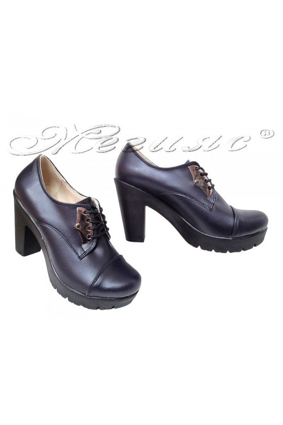 Дамски обувки 153 сини с висок ток еко кожа