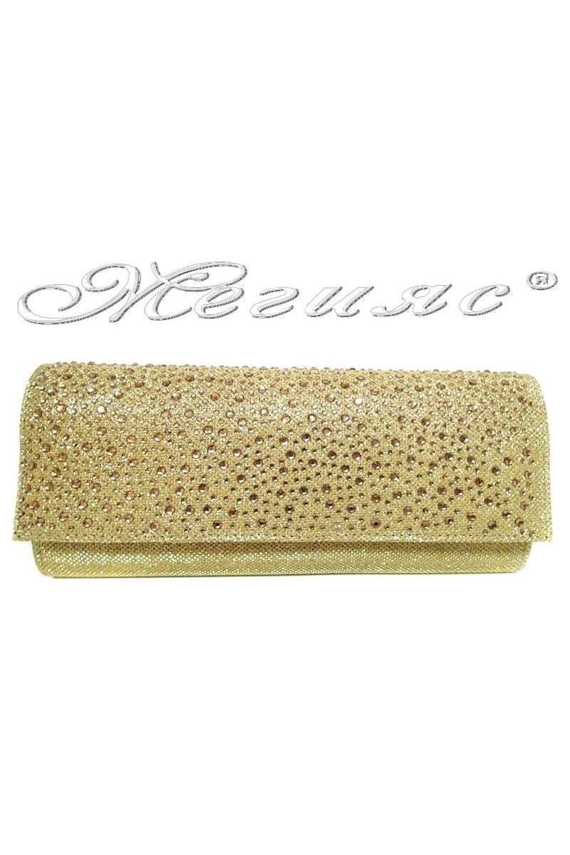 Дамска елегантна чанта златна с камъни