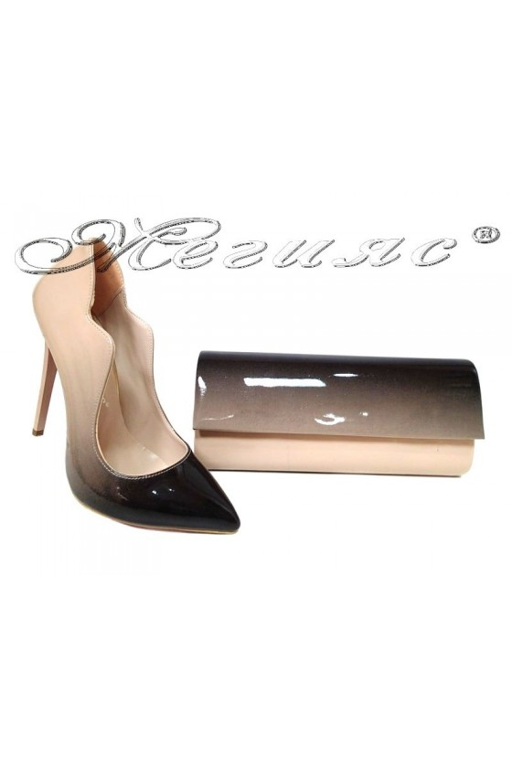 lady shoes 1019 and bag 373 beige