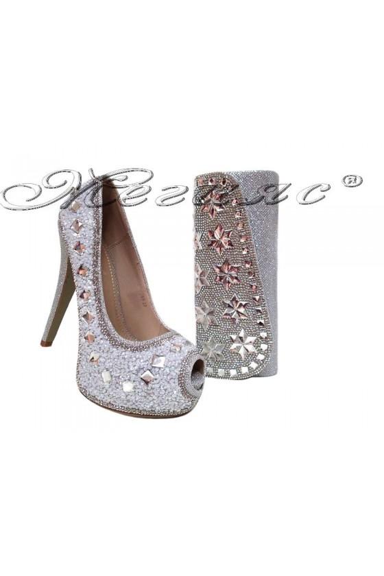 Комплект обувки LINDA 20S16-359 с чанта 15252 сребристи с камъни