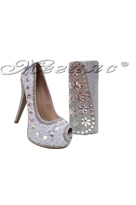 lady shoe LINDA 20S16-359 and bag 15252 silver
