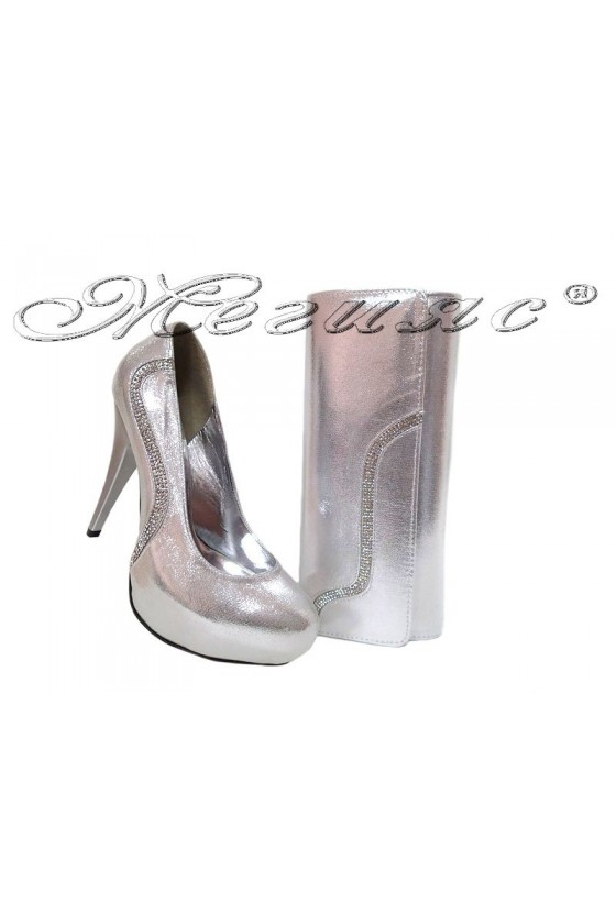 Lady shoes 326 and bag 326 silver
