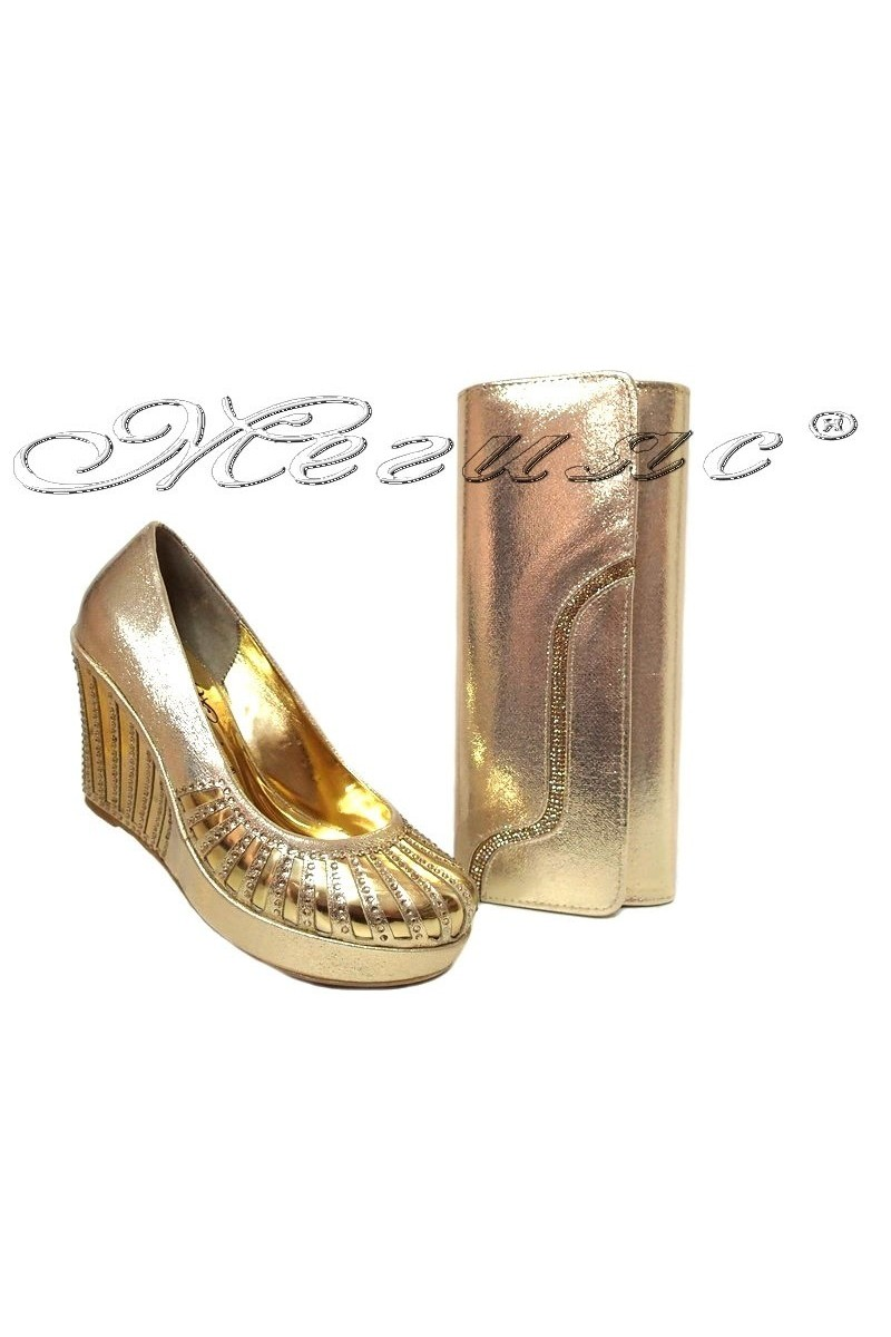 lady shoes 528 and bag 326 gold