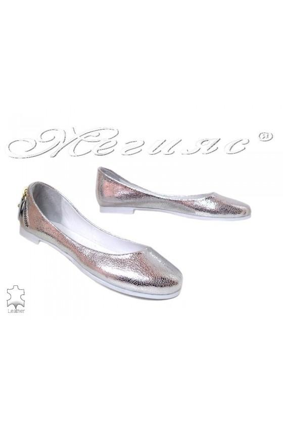 Дамски обувки 254-63-771 сребристи ежедневни естествена кожа