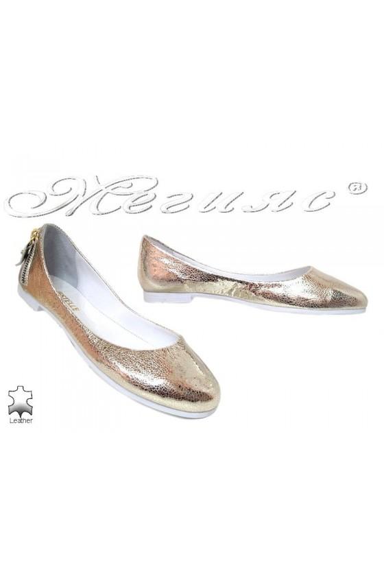 Дамски обувки 254-62-771 златисти ежедневни естествена кожа