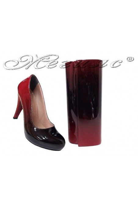 Women elegant shoes 15-k red/black patent with bag 373