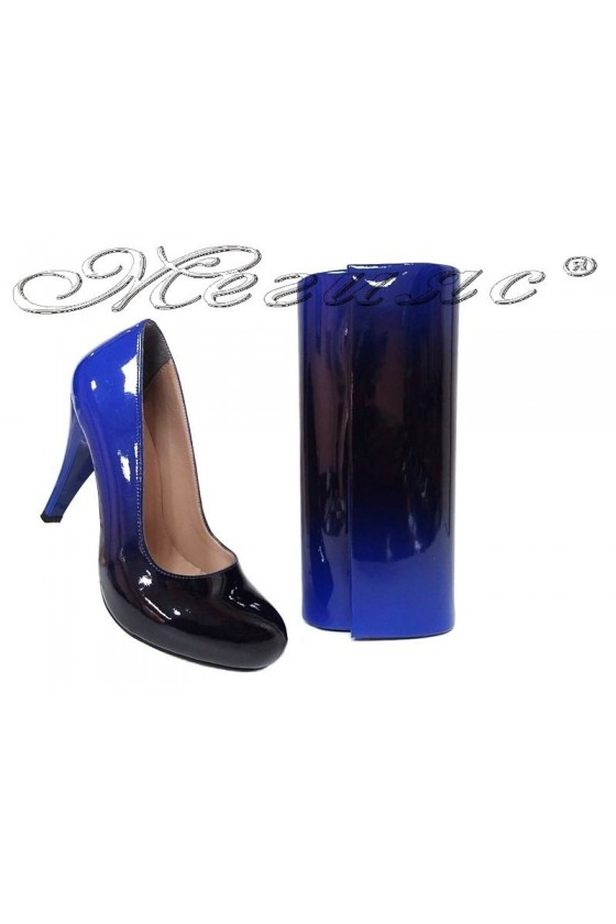 Women elegant shoes 15-k blue/black with bag 373