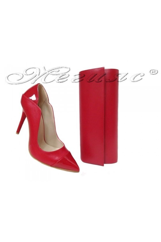 Women elegant shoes 369 red pu with bag 373