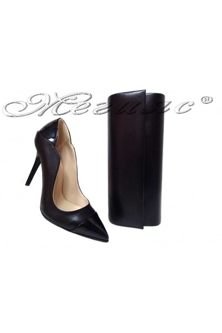 Women elegant shoes 369 black pu with bag 373