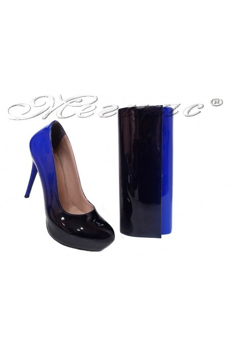 Women elegant shoes 019 blue patent with bag 373
