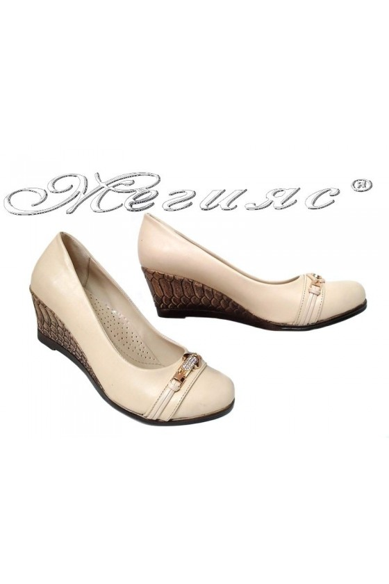 Women platform shoes 703 beige pu