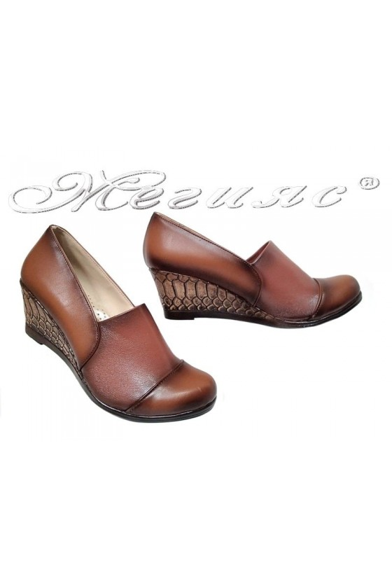 Lady platform shoes 707 brown pu