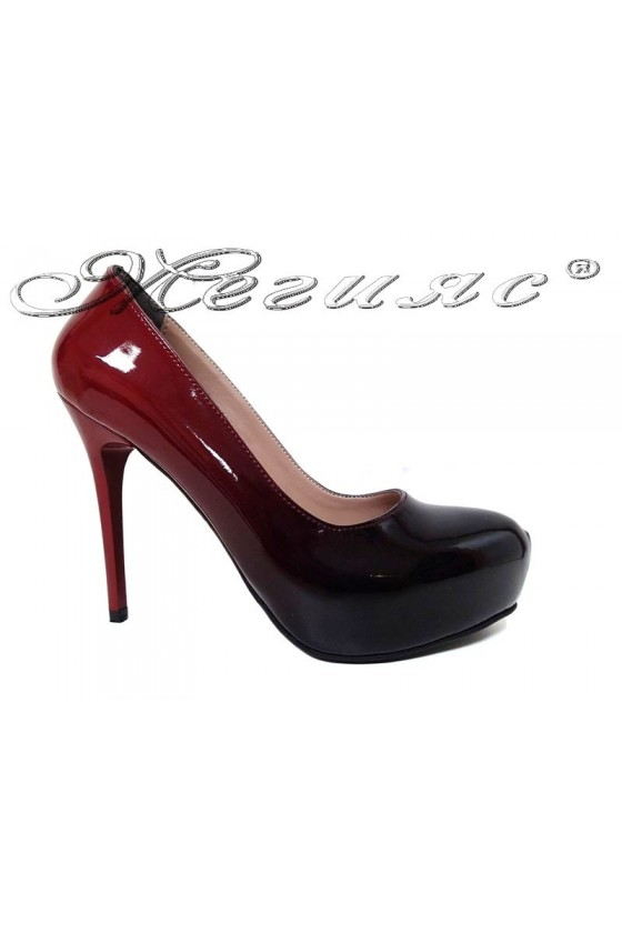 Women elegant  shoes 019 high heel black/red