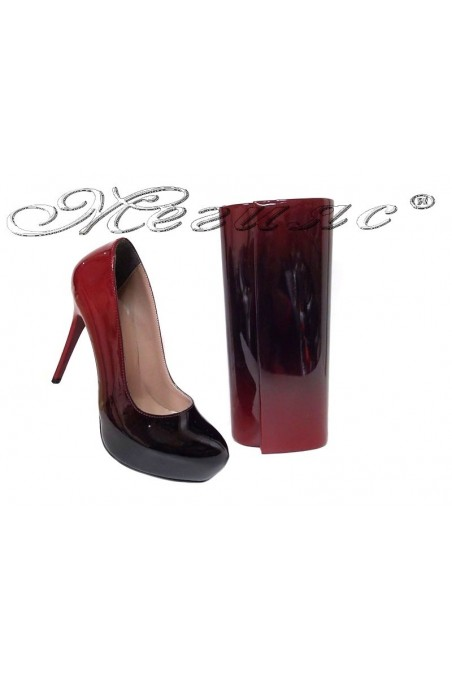 Women elegant shoes 019 red/black with bag 373