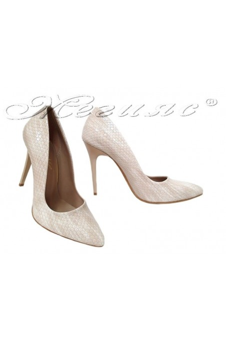 Women elegant shoes 050 beige with high heel