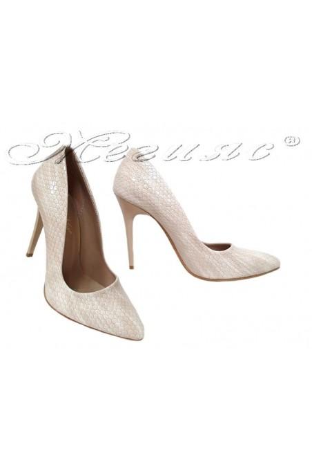 Дамски обувки 050 бежови змия елеганти с висок ток