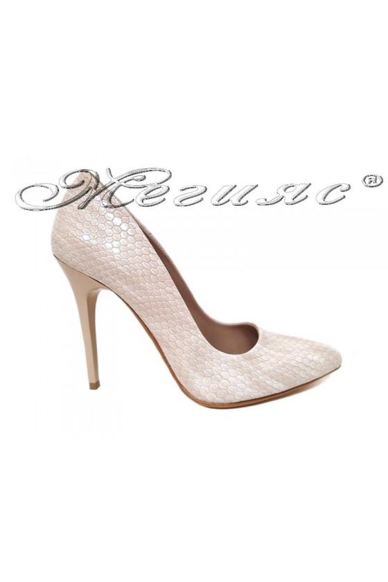 Women elegant  shoes 050 beige with high heel