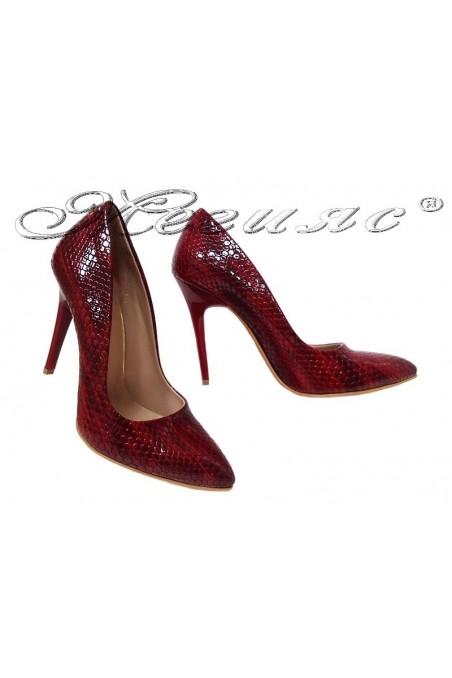 Дамски обувки 050 червени змия елеганти с висок ток