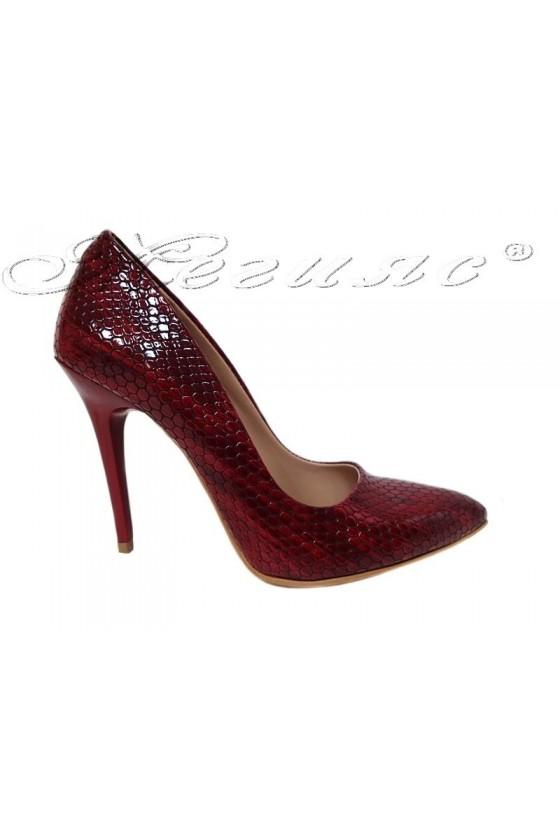 Дамски обувки 050 червени змия елегантни с висок ток