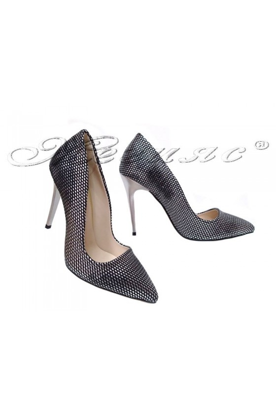 Women elegant shoes 5596 dark silver pu