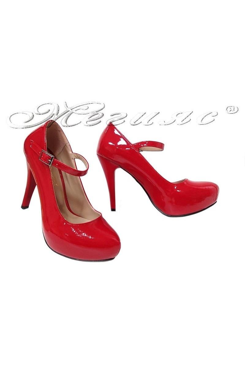 Дамски обувки 520-ато червени лак с висок ток елегантни