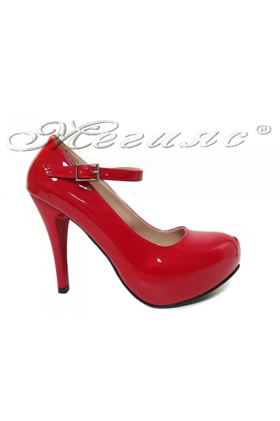 Women elegant  shoes 520 red patent with high heel