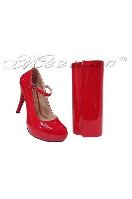Lady elegant shoes 520 red patent with bag 373