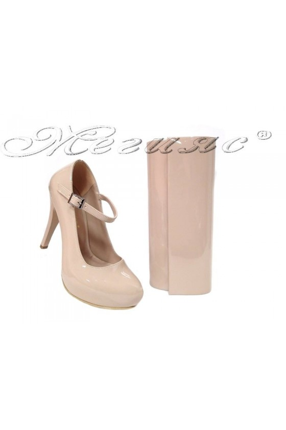 Lady elegant shoes 520 beige patent with bag 373