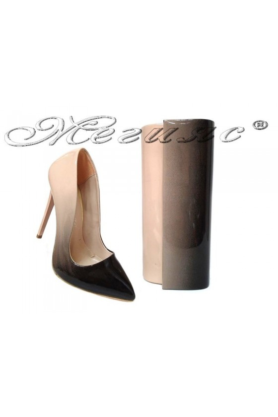 Lady elegant shoes 301 beige/black with bag 373