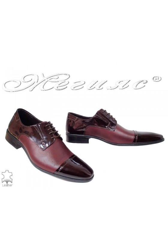 Мъжки обувки естествена кожа бордо