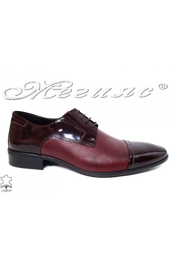 Мъжки обувки Фантазия 11-P бордо естествена кожа
