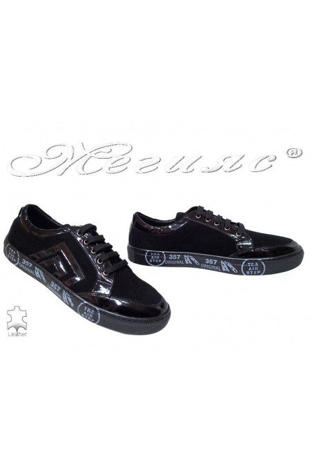 Men sport shoes 781-293-02 black velur+lak