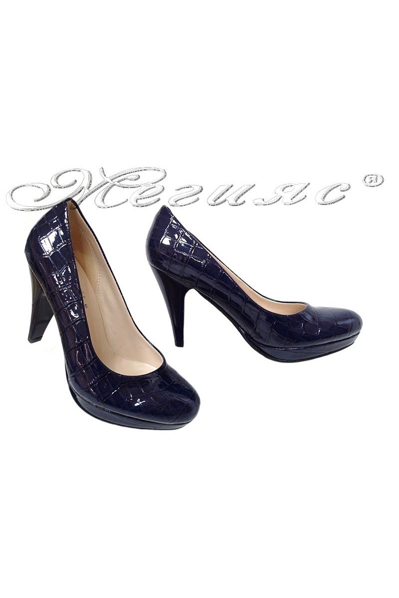 Дамски обувки 520 сини лак кроко елегантни с висок ток
