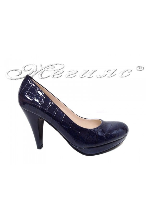 Women elegant shoes 520 blue patent
