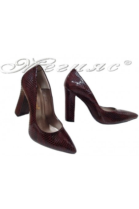 Women elegant shoes 542 wine with high heel