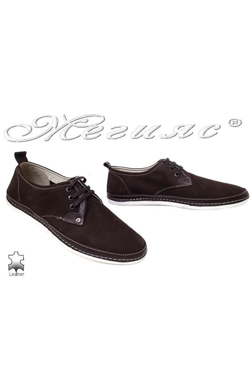 Мъжки обувки FENOMEN 221 тъмно кафяви от естествен набук