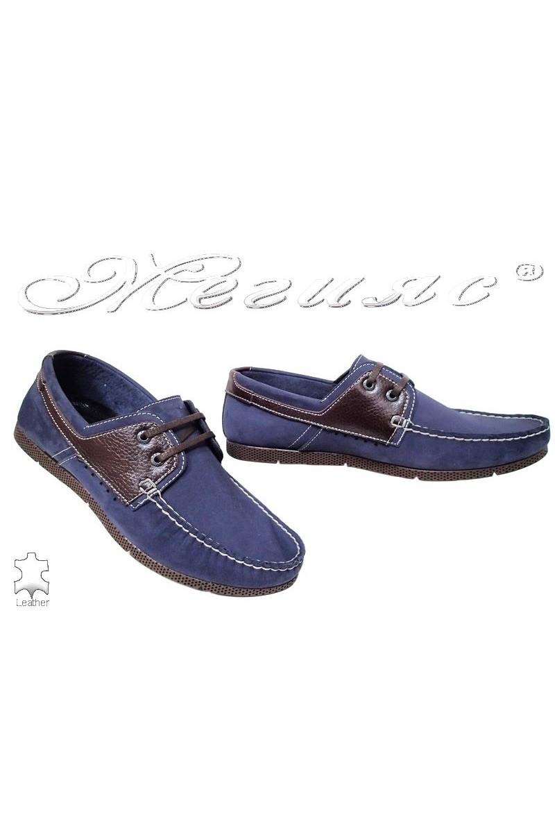 Мъжки обувки FENOMEN 201 сини от естествен набук