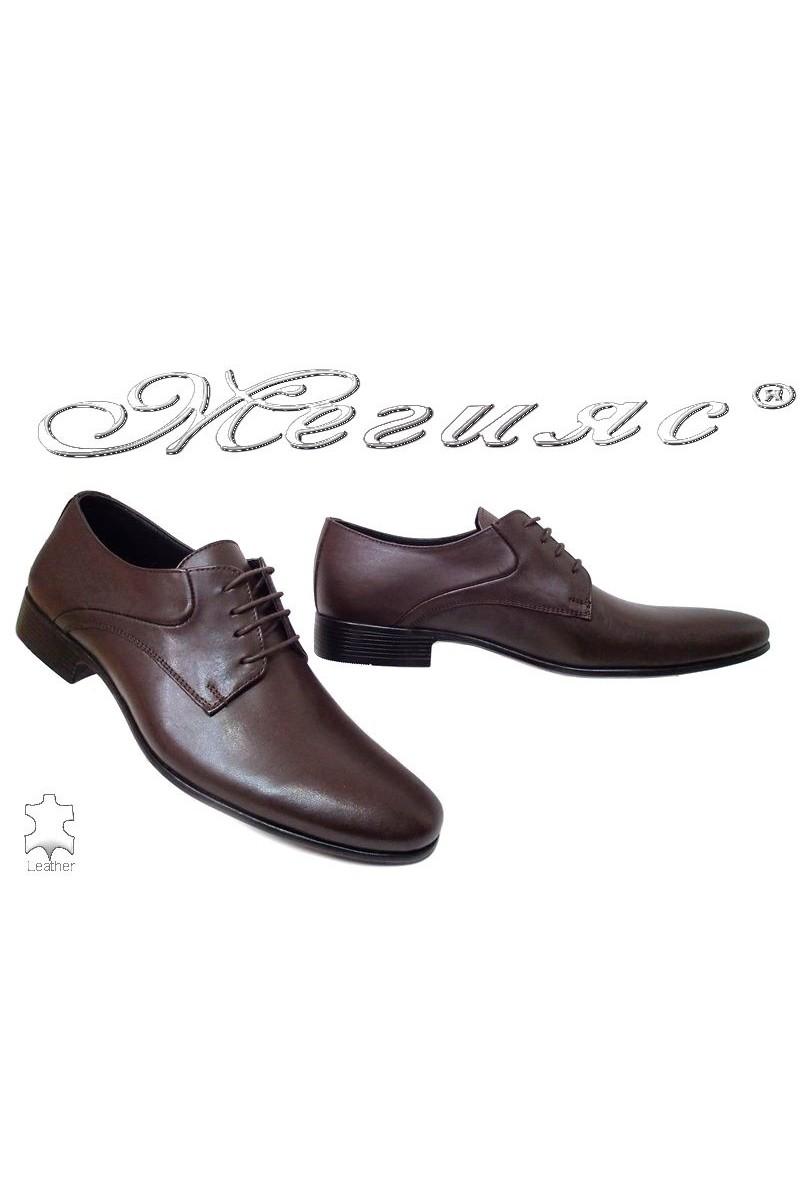 Мъжки обувки Sharp 801 мат тъмно кафяви елегантни от естествена кожа
