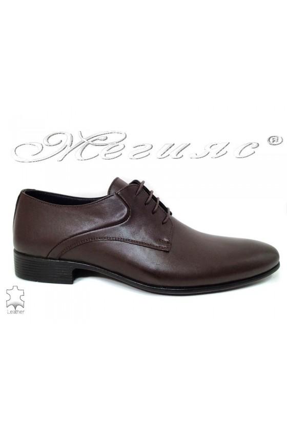 Men shoes 801 dark brown leather