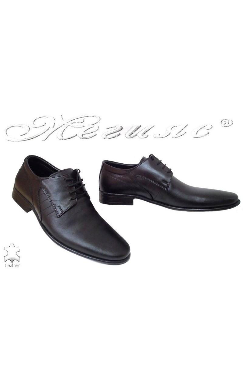Мъжки обувки Ато 093 черни мат елегантни от естествена кожа