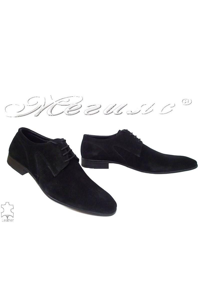 Мъжки обувки Ато 0505 черни велур елегантни от естествен велур