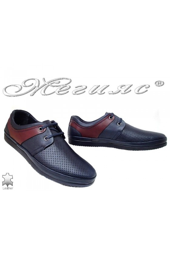 Men shoes 603 SENS blue leather