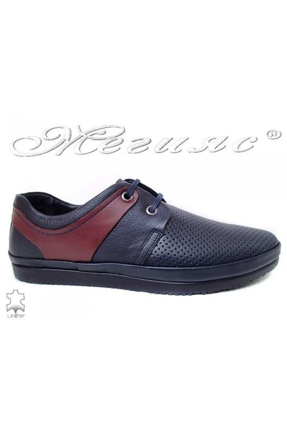 Men shoes 603 SENS blue leather