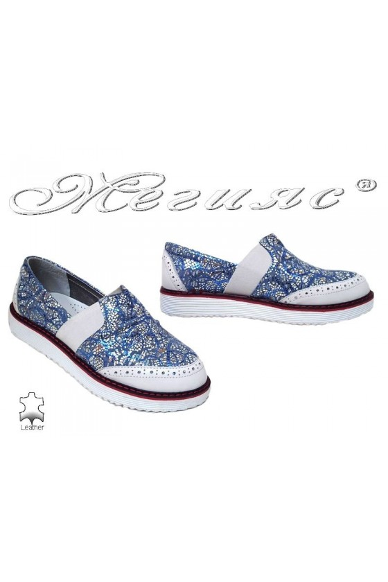 Women shoes 167-10 blue+white leather