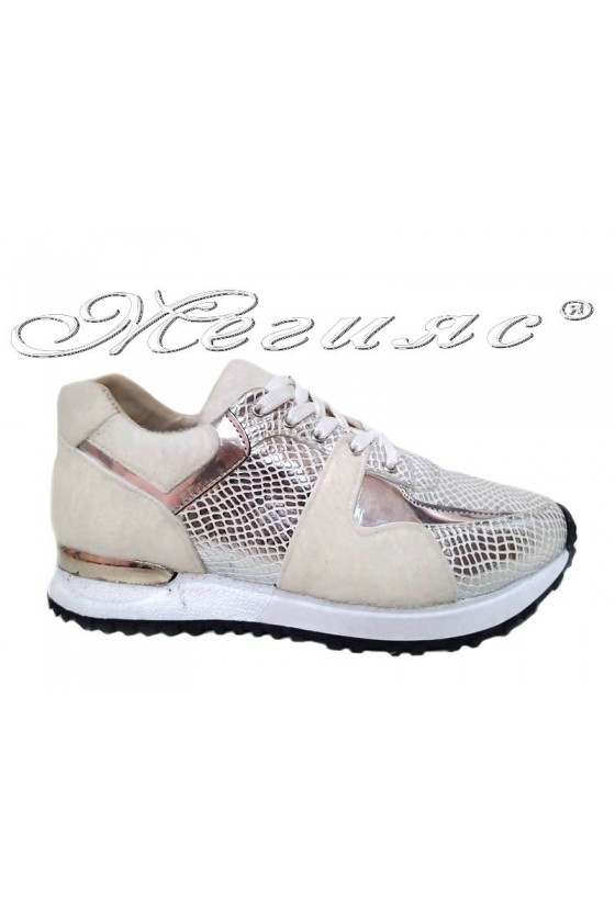 Women sport shoes 1201 white with silver pu