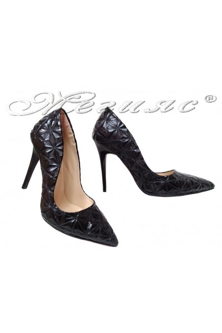 Women elegant shoes 1600 black with high heel