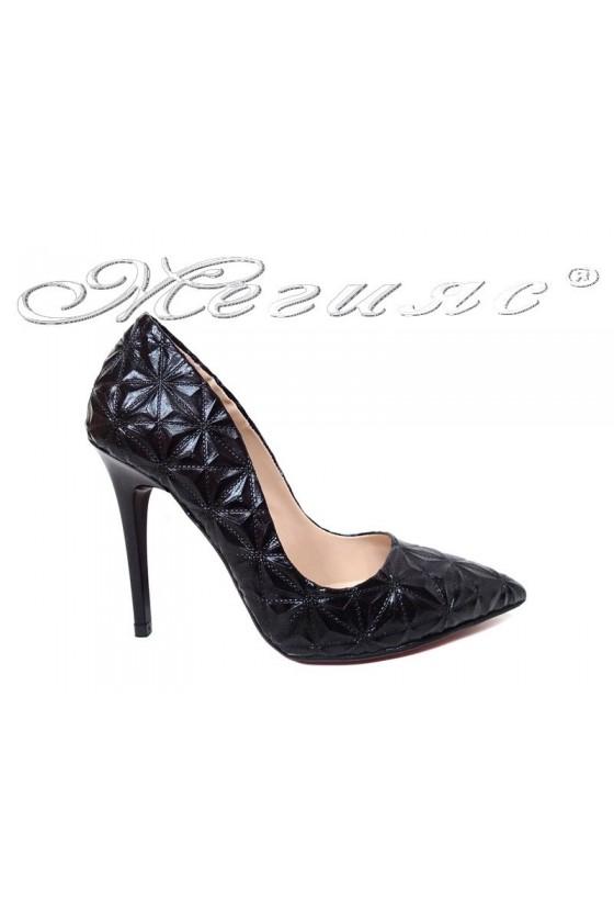 Women elegant shoes 1600 black with high heel