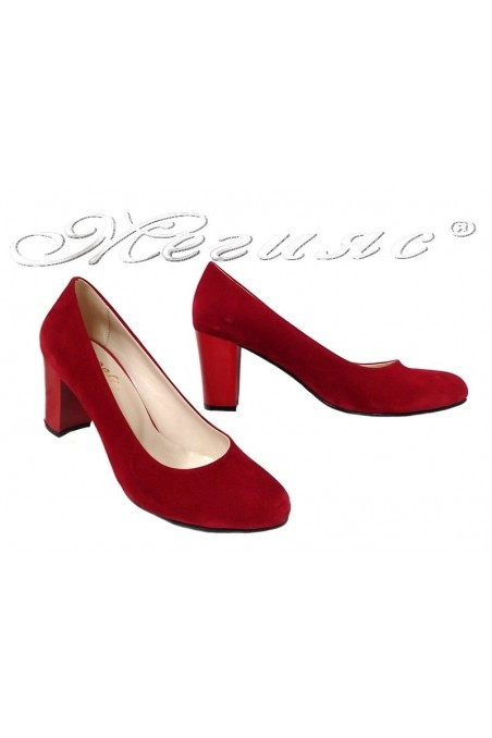 Lady elegant shoes 99 red suede with middle heel