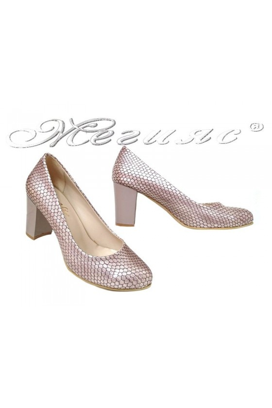 Lady elegant shoes 99 beige pattent with middle heel