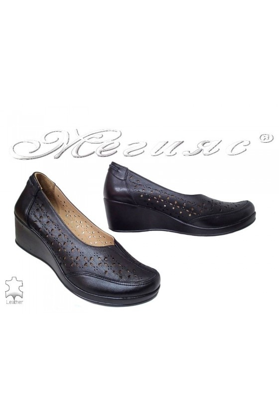 Women platform shoes 642 black leather